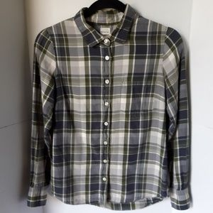 Womens J Crew soft plaid button down.  Size XS